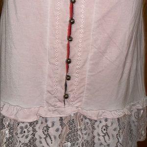 POL Tops - Pink tunic lace tank